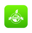 green planet icon green vector image