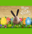 happy easter greeting card with egg bunny vector image