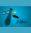 happy fathers day attractive card design in blue vector image