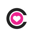 letter c with heart logo template and icon vector image