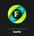 letter f logo symbol in the colorful circle vector image vector image