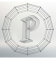 letter P Fonts of Mesh vector image