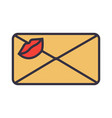 love letter envelope with kiss vector image