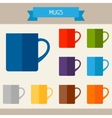 Mugs colored templates for your design in flat vector image vector image
