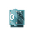 opened empty safe with cobweb and flies inside vector image vector image