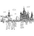people or tourist walking kremlin and cathedral vector image
