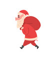 Pig character in santa costume walking with red