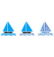 sailing yacht collage vector image