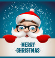 santa claus with big signboard merry christmas vector image vector image