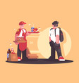 seller of fastfood in uniform vector image vector image