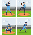 sets of baseball player vector image
