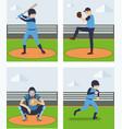 sets of baseball player vector image