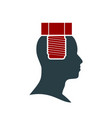 silhouette of a man head with screw vector image