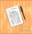 spiral bound notepad or coloring book with picture vector image vector image