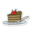 sticker of a cartoon chocolate cake vector image vector image