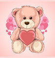valentine day love teddy bear heart vector image vector image