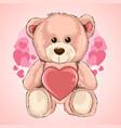 valentine day love teddy bear heart vector image vector image