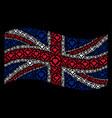 waving british flag pattern of casino hearts items vector image