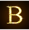 Alphabets B of gold glittering stars vector image