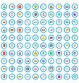 100 mobile app icons set cartoon style vector image vector image