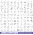 100 teamwork icons set outline style vector image vector image