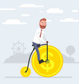 a man riding a bicycle that wheels out of coins vector image vector image