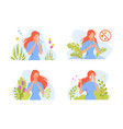 allergic reactions in humans set female character vector image vector image