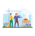 architect hold blueprints near construction vector image
