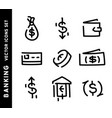 banking hand drawn icons set money outline signs vector image