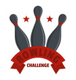 bowling challenge logo flat style vector image vector image