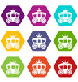carriage icons set 9 vector image vector image