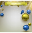 Christmas background with fir twigs and colorful vector image vector image
