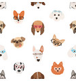 colorful seamless pattern with faces of dogs vector image vector image