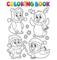 coloring book christmas penguins 2 vector image vector image