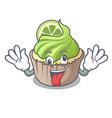 crazy lemon cupcake mascot cartoon vector image vector image