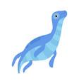 cute blue swimming dinosaur funny baby dino vector image vector image