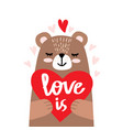 cute little bear holding heart vector image vector image