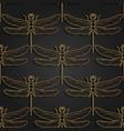 dragonfly pattern black gold pattern design vector image vector image