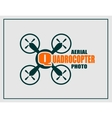 Drone icon Quadrocopter aerial photo text vector image vector image