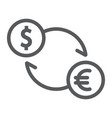exchange line icon finance and banking currency vector image vector image