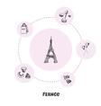 Famous France Symbols Doodle Concept vector image vector image