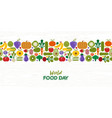food day pattern card vegetables and fruit vector image vector image