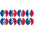 football icons on French flag vector image