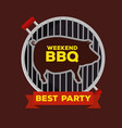 grill with pork and bbq sauce with ribbon vector image