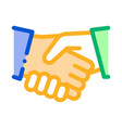 handshake icon outline vector image vector image