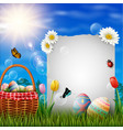 happy easter eggs with paper and basket on grass vector image