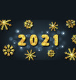 happy new year 2021 greeting card with golden vector image