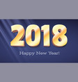happy new year banner volumetric numbers 2018 vector image