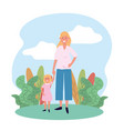 happy woman mother with her cute daughter and vector image