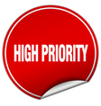 high priority round red sticker isolated on white vector image vector image